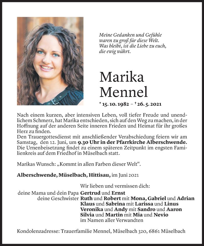 Todesanzeige für Marika Mennel vom 09.06.2021 aus Vorarlberger Nachrichten