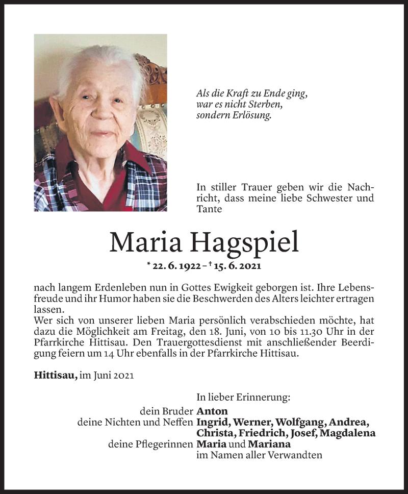 Todesanzeige für Maria Hagspiel vom 15.06.2021 aus Vorarlberger Nachrichten
