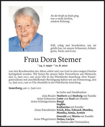 Todesanzeige von Dora Stemer von Vorarlberger Nachrichten