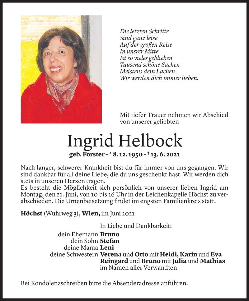 Todesanzeige für Ingrid Helbock vom 18.06.2021 aus Vorarlberger Nachrichten