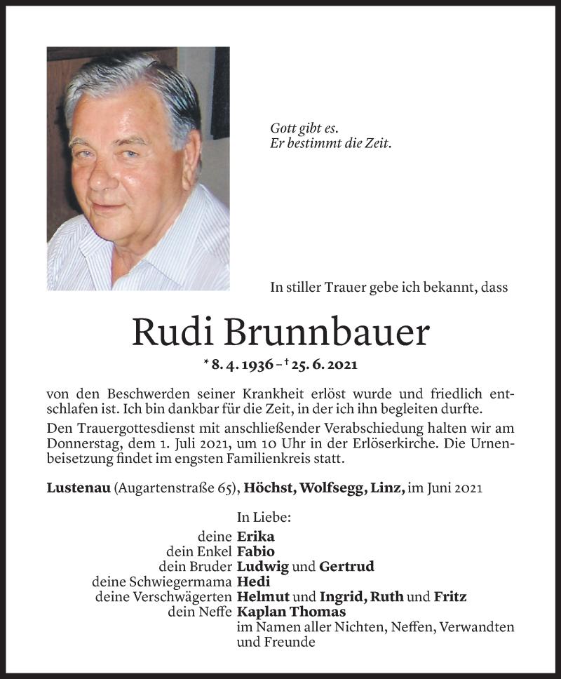 Todesanzeige für Rudi Brunnbauer vom 28.06.2021 aus Vorarlberger Nachrichten