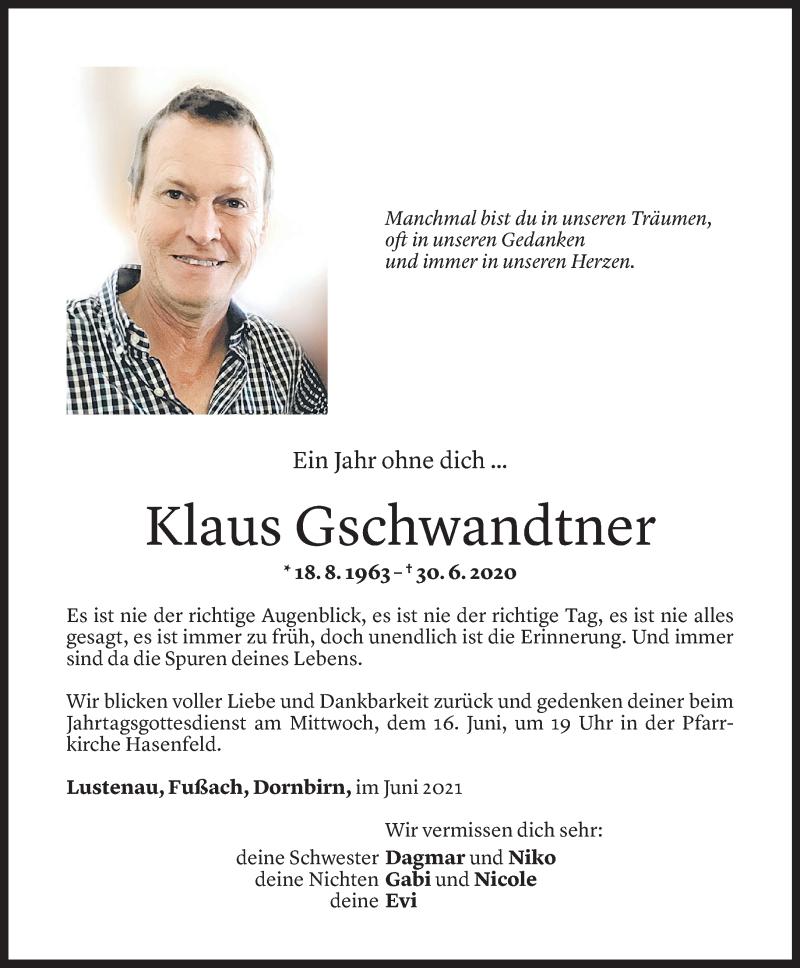 Todesanzeige für Klaus Gschwandtner vom 13.06.2021 aus Vorarlberger Nachrichten