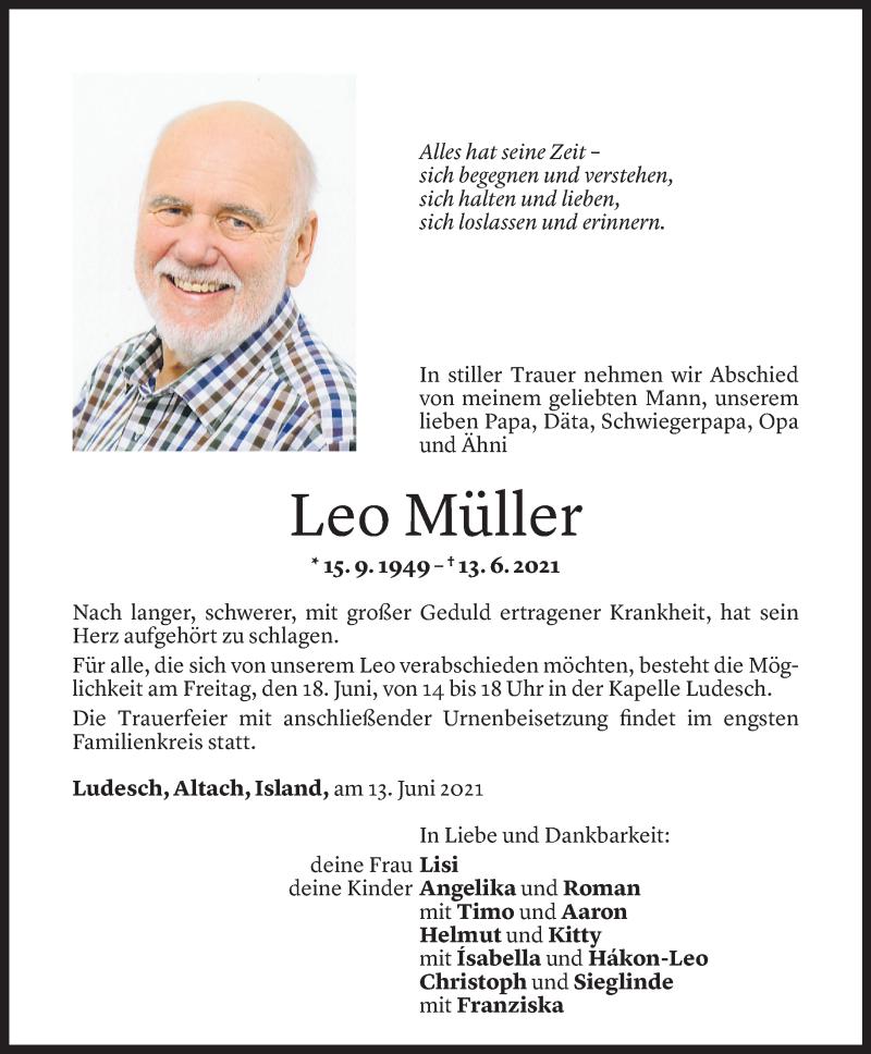 Todesanzeige für Leo Müller vom 17.06.2021 aus Vorarlberger Nachrichten