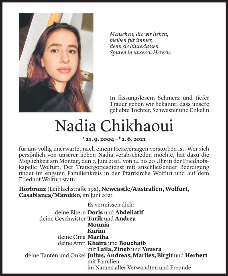 Todesanzeige für Nadia Chikhaoui vom 04.06.2021 aus Vorarlberger Nachrichten