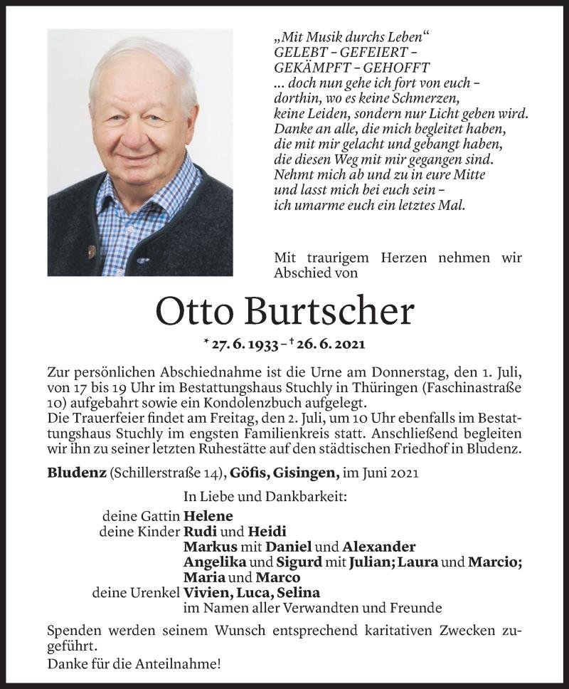 Todesanzeige für Otto Burtscher vom 28.06.2021 aus Vorarlberger Nachrichten