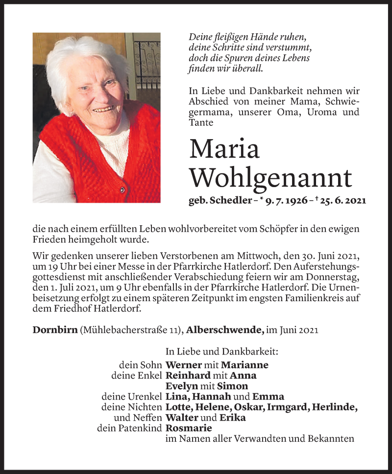 Todesanzeige für Maria Wohlgenannt vom 28.06.2021 aus Vorarlberger Nachrichten