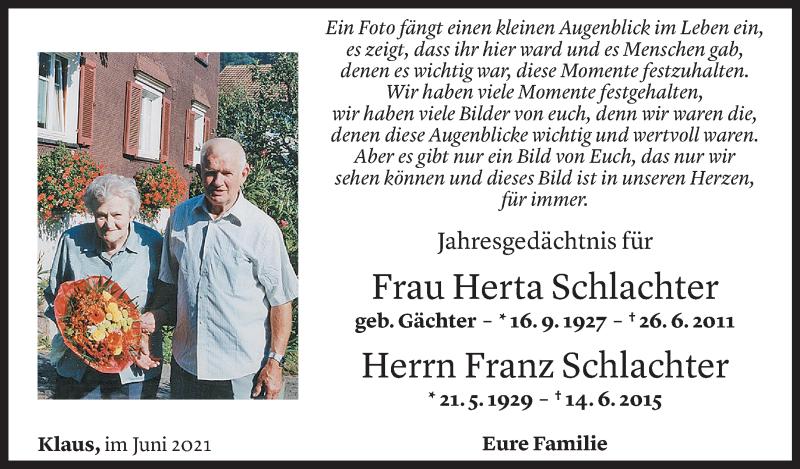 Todesanzeige für Herta und Franz Schlachter vom 12.06.2021 aus Vorarlberger Nachrichten
