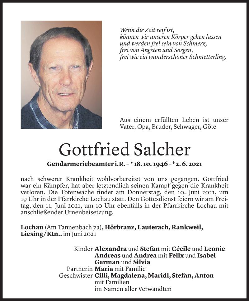 Todesanzeige für Gottfried Salcher vom 06.06.2021 aus Vorarlberger Nachrichten