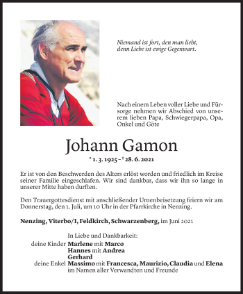 Todesanzeige von Johann Gamon von Vorarlberger Nachrichten