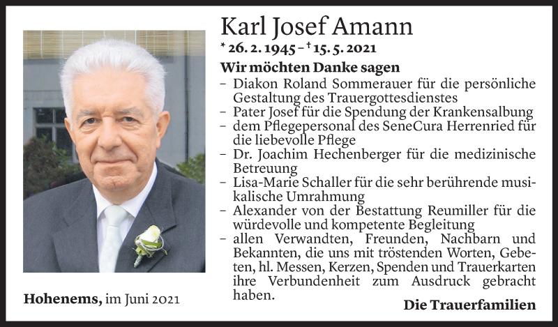 Todesanzeige für Karl Josef Amann vom 05.06.2021 aus Vorarlberger Nachrichten