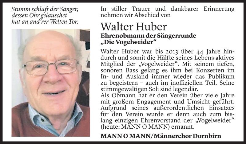 Todesanzeige für Walter Huber vom 14.06.2021 aus Vorarlberger Nachrichten