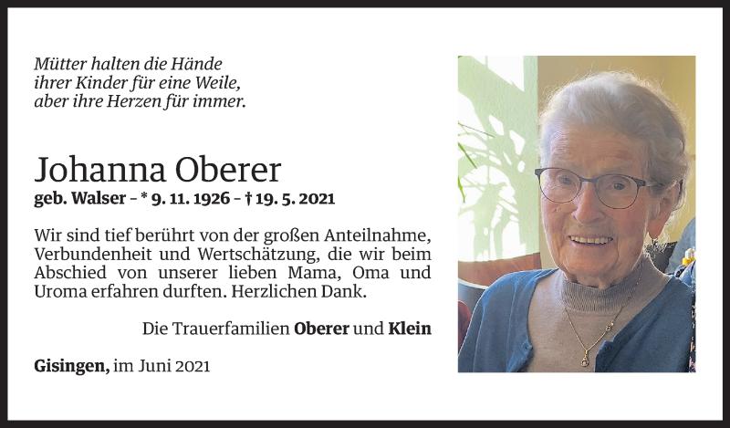Todesanzeige für Johanna Oberer vom 11.06.2021 aus Vorarlberger Nachrichten