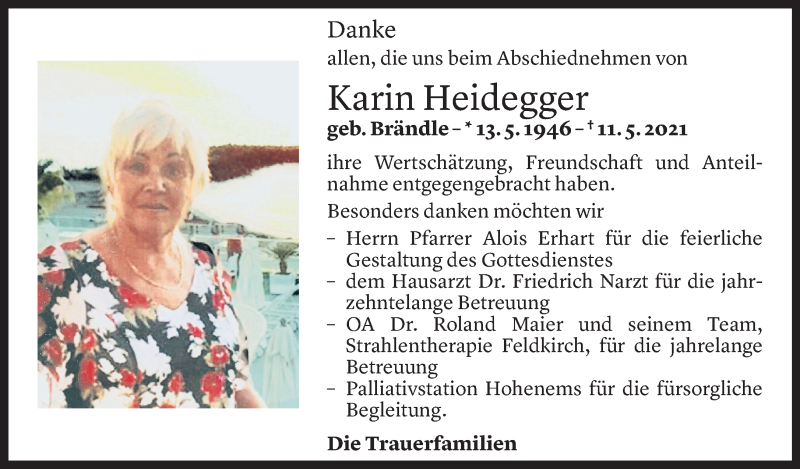 Todesanzeige für Karin Heidegger vom 11.06.2021 aus Vorarlberger Nachrichten