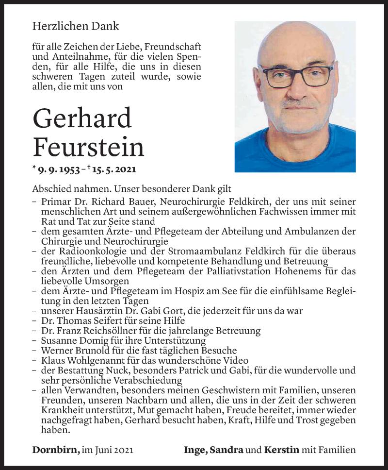 Todesanzeige für Gerhard Feurstein vom 02.06.2021 aus Vorarlberger Nachrichten