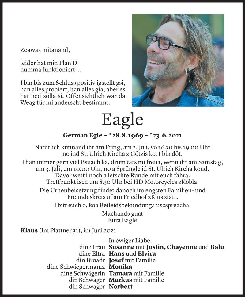 Todesanzeige für German Egle vom 30.06.2021 aus Vorarlberger Nachrichten
