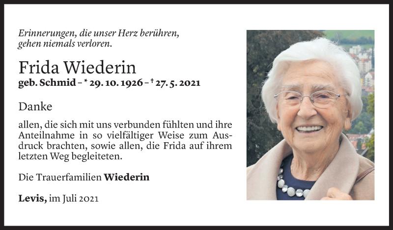 Todesanzeige für Frida Wiederin vom 17.07.2021 aus Vorarlberger Nachrichten