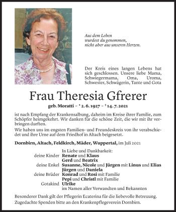 Todesanzeige von Theresia Gfrerer von Vorarlberger Nachrichten