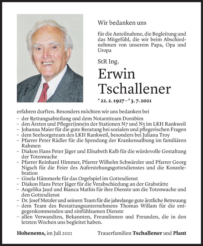 Todesanzeige für Erwin Tschallener vom 22.07.2021 aus Vorarlberger Nachrichten