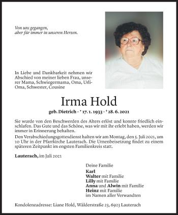 Todesanzeige von Irma Hold von Vorarlberger Nachrichten