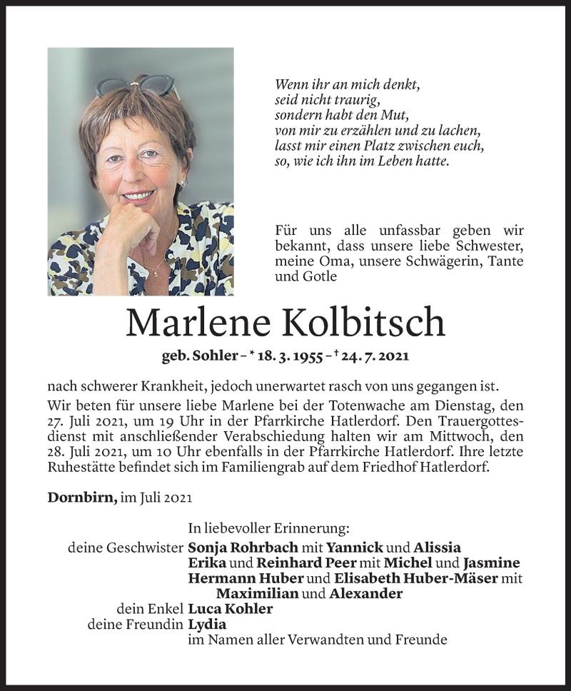 Todesanzeige für Marlene Kolbitsch vom 26.07.2021 aus Vorarlberger Nachrichten