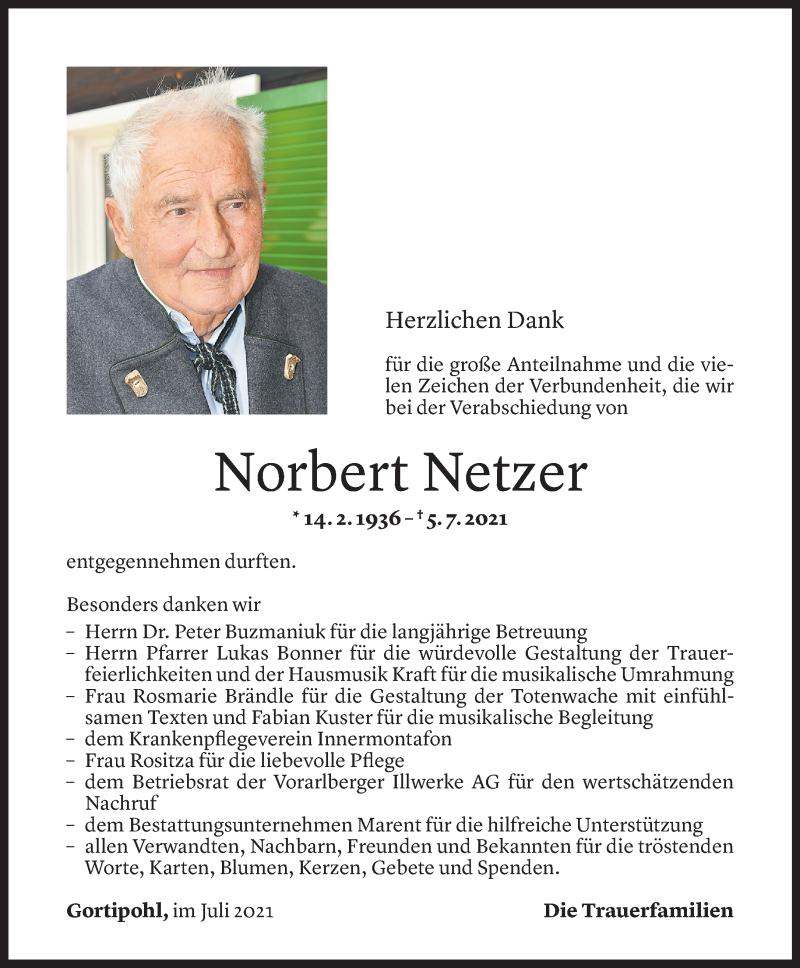 Todesanzeige für Norbert Netzer vom 29.07.2021 aus Vorarlberger Nachrichten