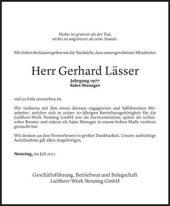 Todesanzeige von Gerhard Lässer von Vorarlberger Nachrichten