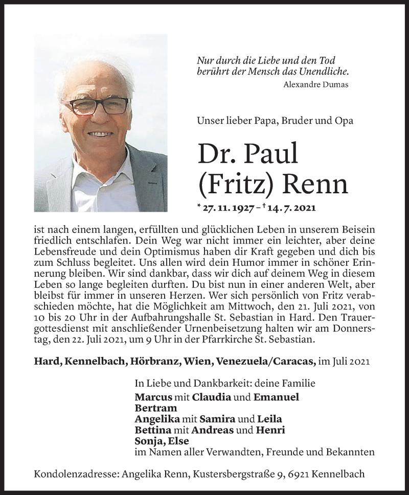 Todesanzeige für Paul Renn vom 19.07.2021 aus vorarlberger nachrichten