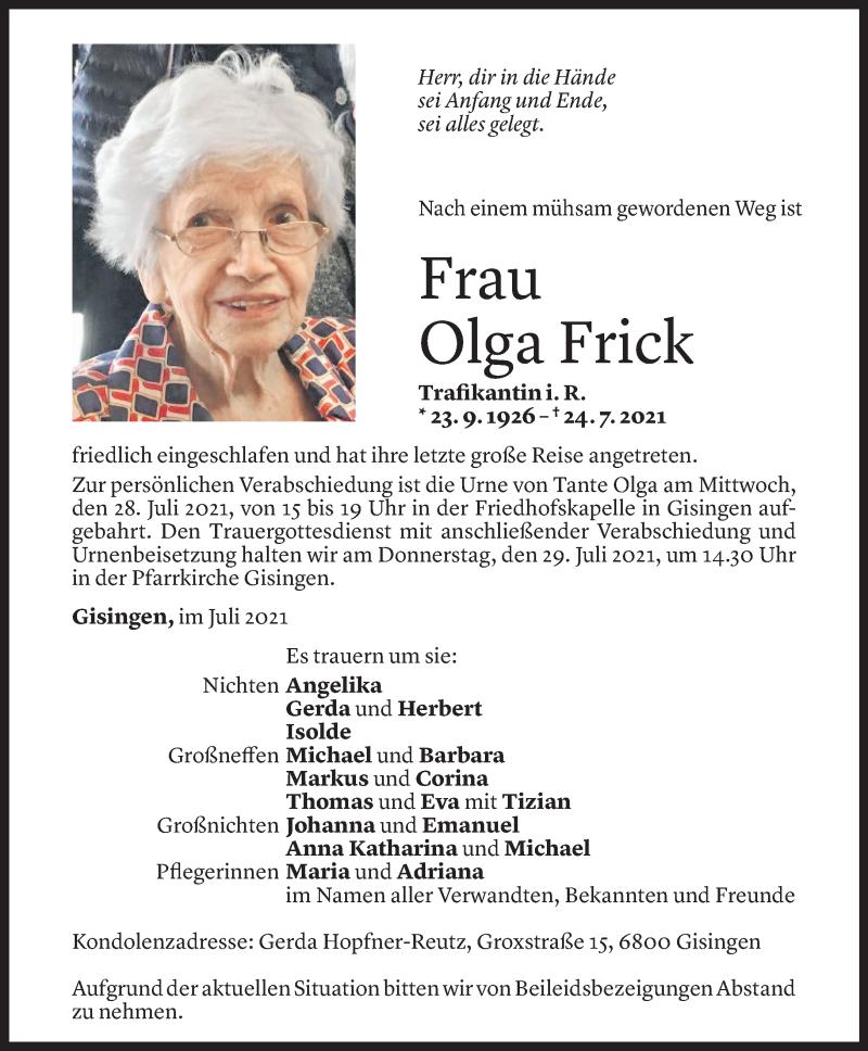 Todesanzeige für Olga Frick vom 26.07.2021 aus Vorarlberger Nachrichten