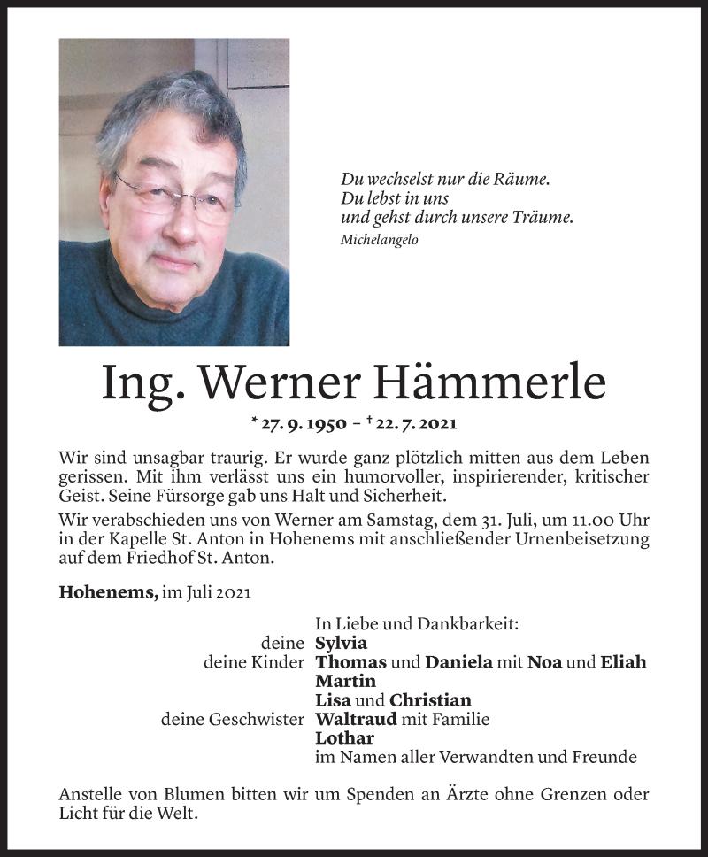 Todesanzeige für Werner Hämmerle vom 27.07.2021 aus Vorarlberger Nachrichten