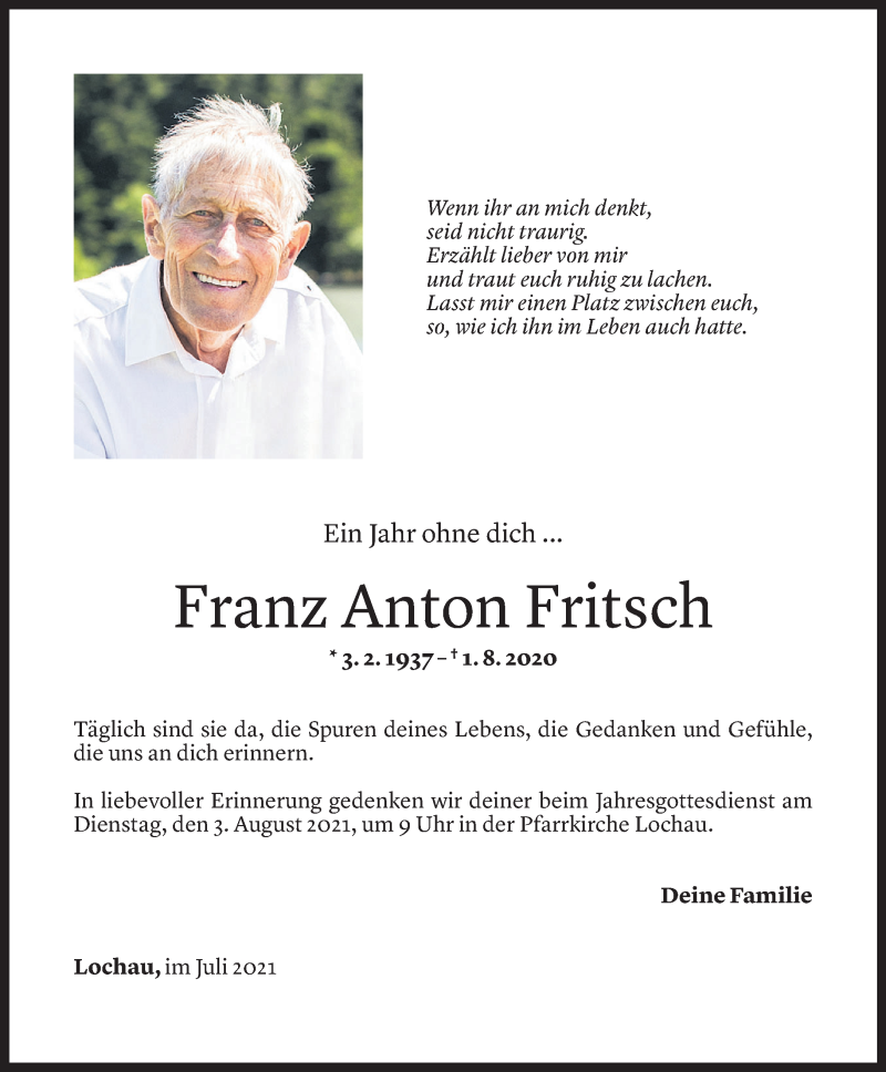 Todesanzeige für Franz Anton Fritsch vom 30.07.2021 aus Vorarlberger Nachrichten