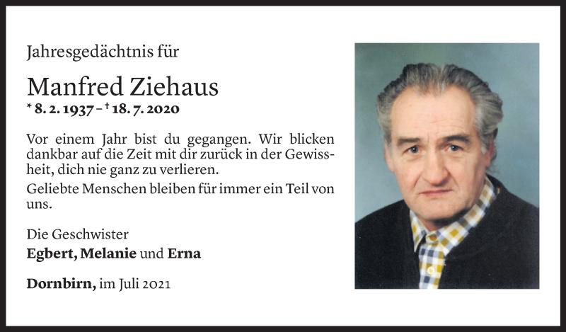 Todesanzeige für Manfred Ziehaus vom 16.07.2021 aus Vorarlberger Nachrichten