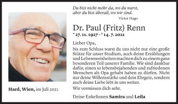 Todesanzeige von Paul Renn von Vorarlberger Nachrichten