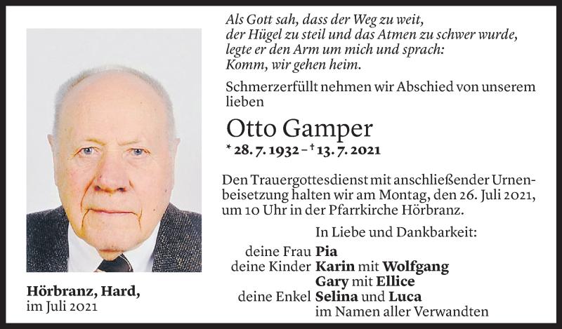 Todesanzeige für Otto Gamper vom 23.07.2021 aus Vorarlberger Nachrichten