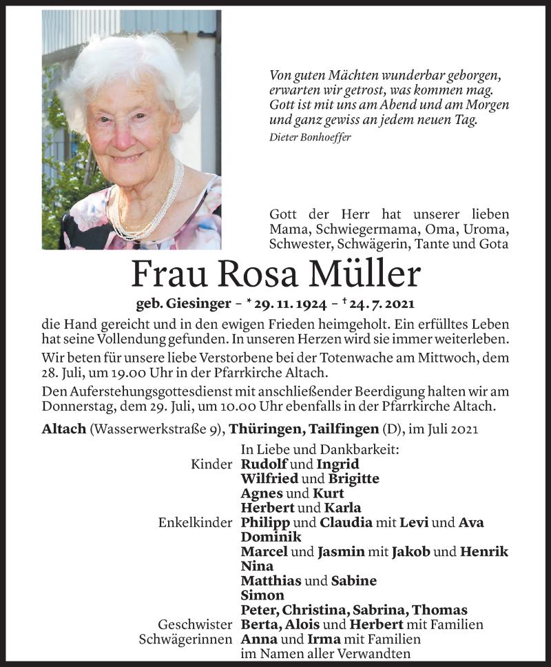 Todesanzeige für Rosa Müller vom 27.07.2021 aus Vorarlberger Nachrichten