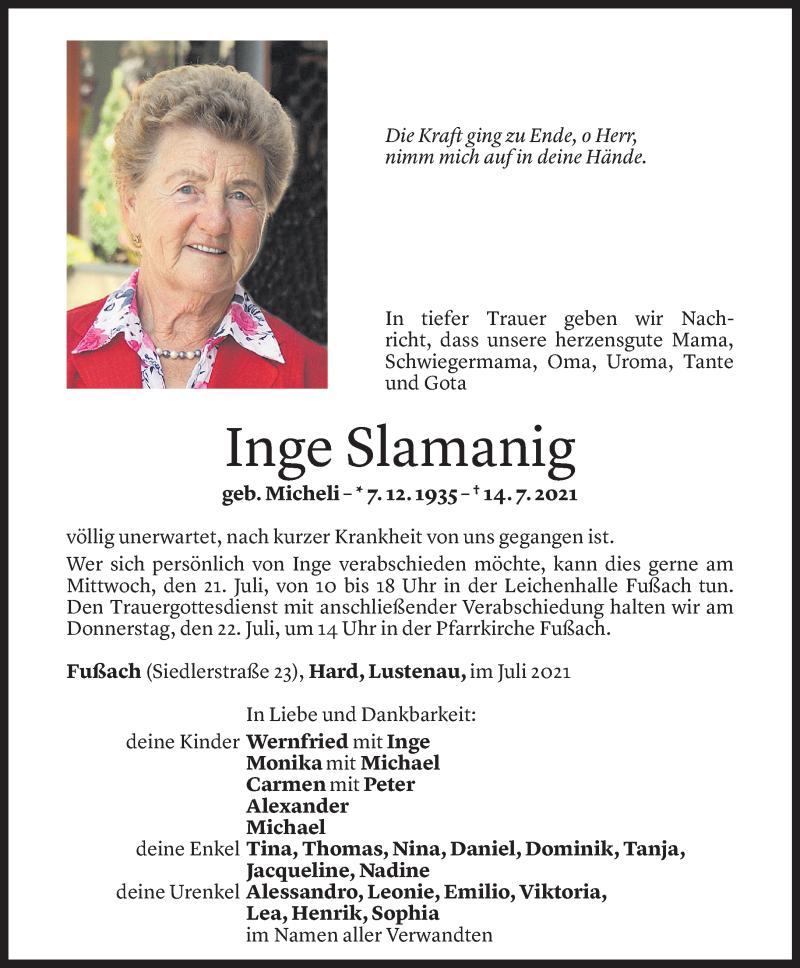 Todesanzeige für Inge Slamanig vom 19.07.2021 aus Vorarlberger Nachrichten