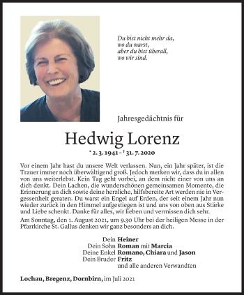 Todesanzeige von Hedwig Lorenz von Vorarlberger Nachrichten