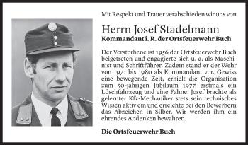 Todesanzeige von Josef Stadelmann von Vorarlberger Nachrichten