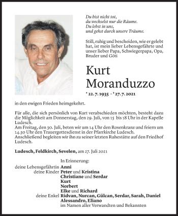 Todesanzeige von Kurt Moranduzzo von Vorarlberger Nachrichten