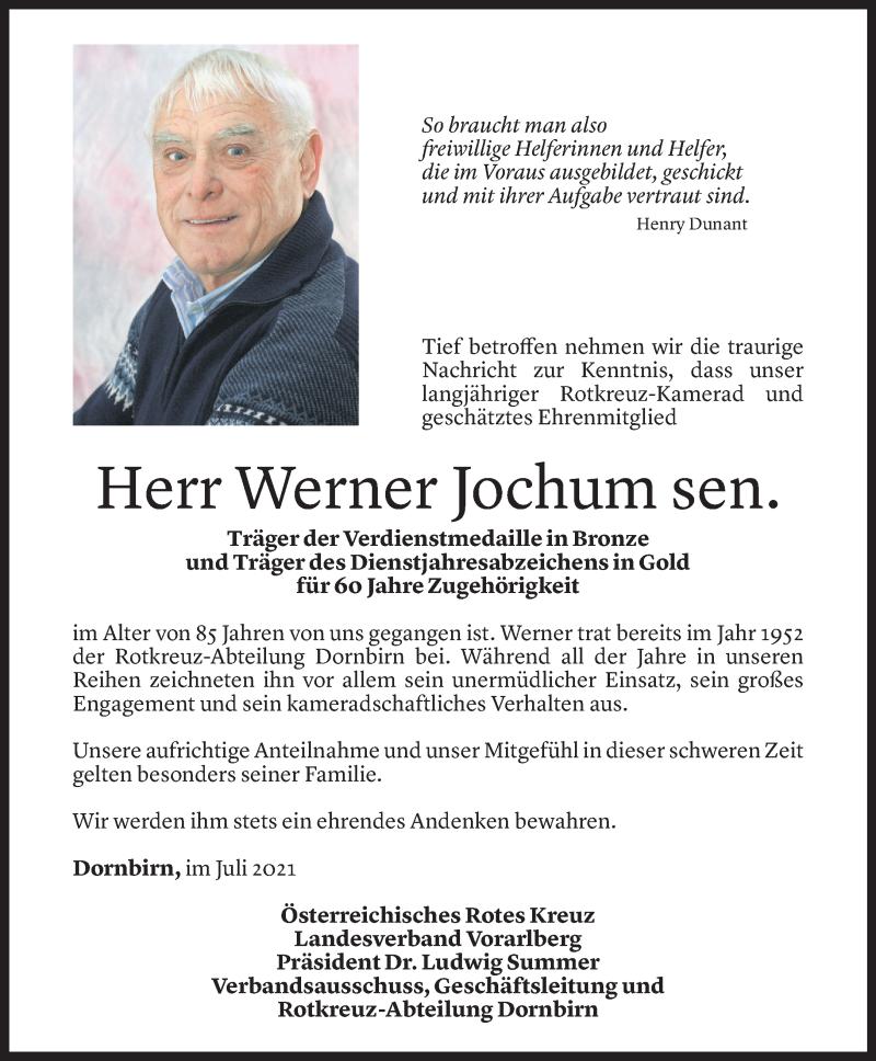 Todesanzeige für Werner Jochum vom 27.07.2021 aus Vorarlberger Nachrichten