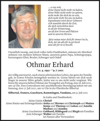 Todesanzeige von Othmar Erhard von Vorarlberger Nachrichten