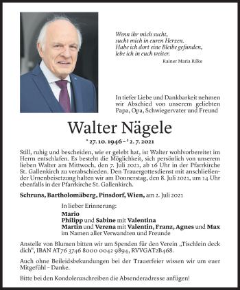 Todesanzeige von Walter Nägele von Vorarlberger Nachrichten