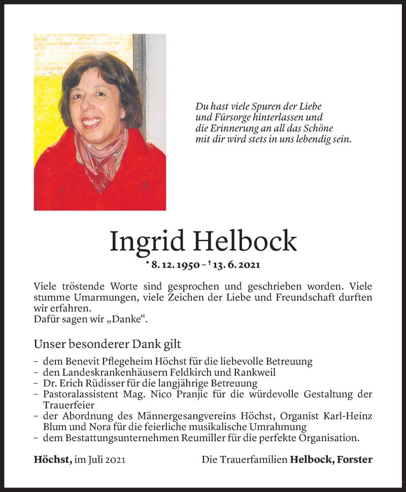 Todesanzeige für Ingrid Helbock vom 09.07.2021 aus Vorarlberger Nachrichten