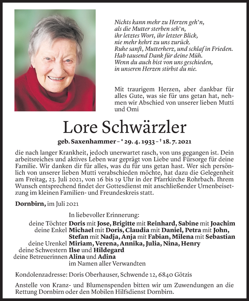Todesanzeige für Lore Schwärzler vom 22.07.2021 aus Vorarlberger Nachrichten
