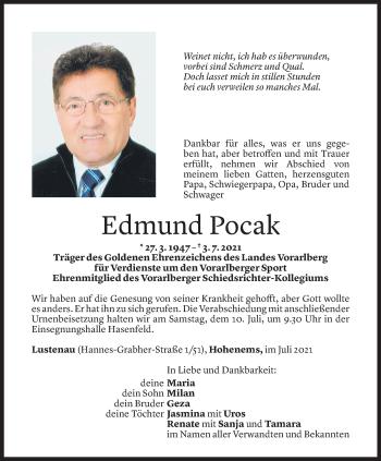 Todesanzeige von Edmund Pocak von Vorarlberger Nachrichten