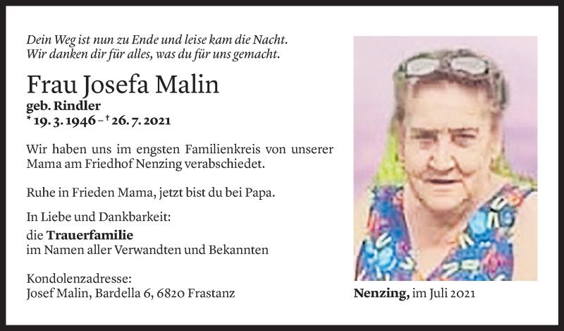 Todesanzeige für Josefa Malin vom 31.07.2021 aus Vorarlberger Nachrichten