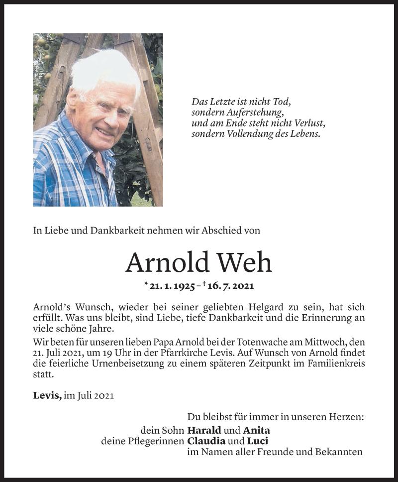 Todesanzeige für Arnold Weh vom 19.07.2021 aus Vorarlberger Nachrichten