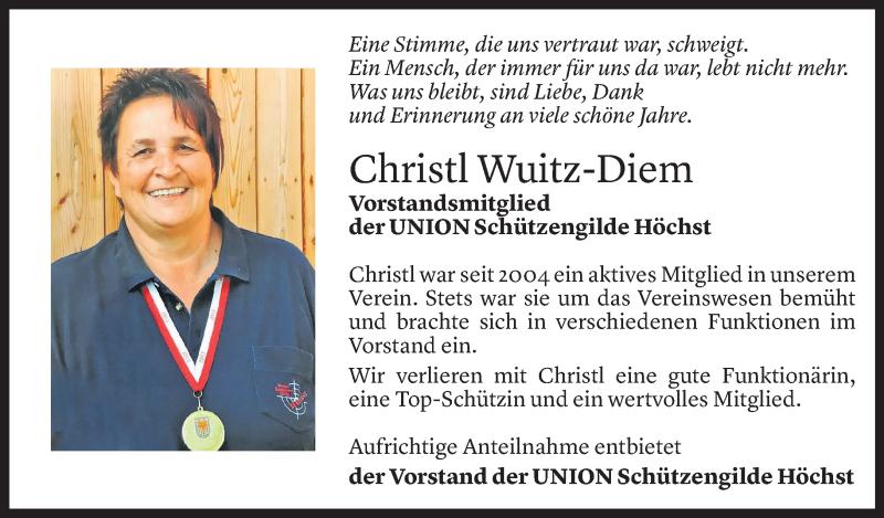 Todesanzeige für Christine Wuitz-Diem vom 27.07.2021 aus Vorarlberger Nachrichten