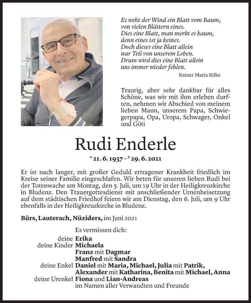 Todesanzeige für Rudi Enderle vom 02.07.2021 aus Vorarlberger Nachrichten