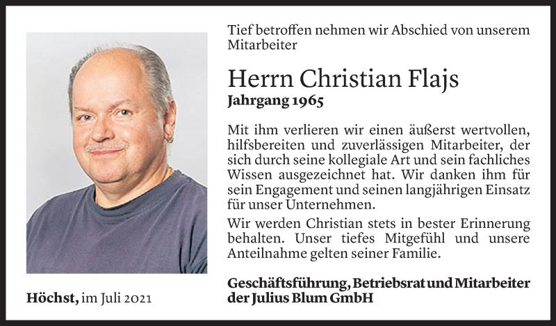 Todesanzeige für Christian Flajs vom 17.07.2021 aus Vorarlberger Nachrichten
