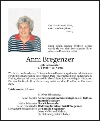 Todesanzeige von Anni Bregenzer von Vorarlberger Nachrichten